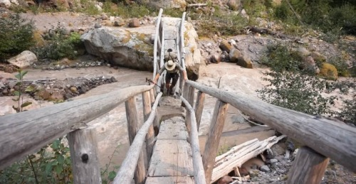 Man climbing an old wooden bridge.